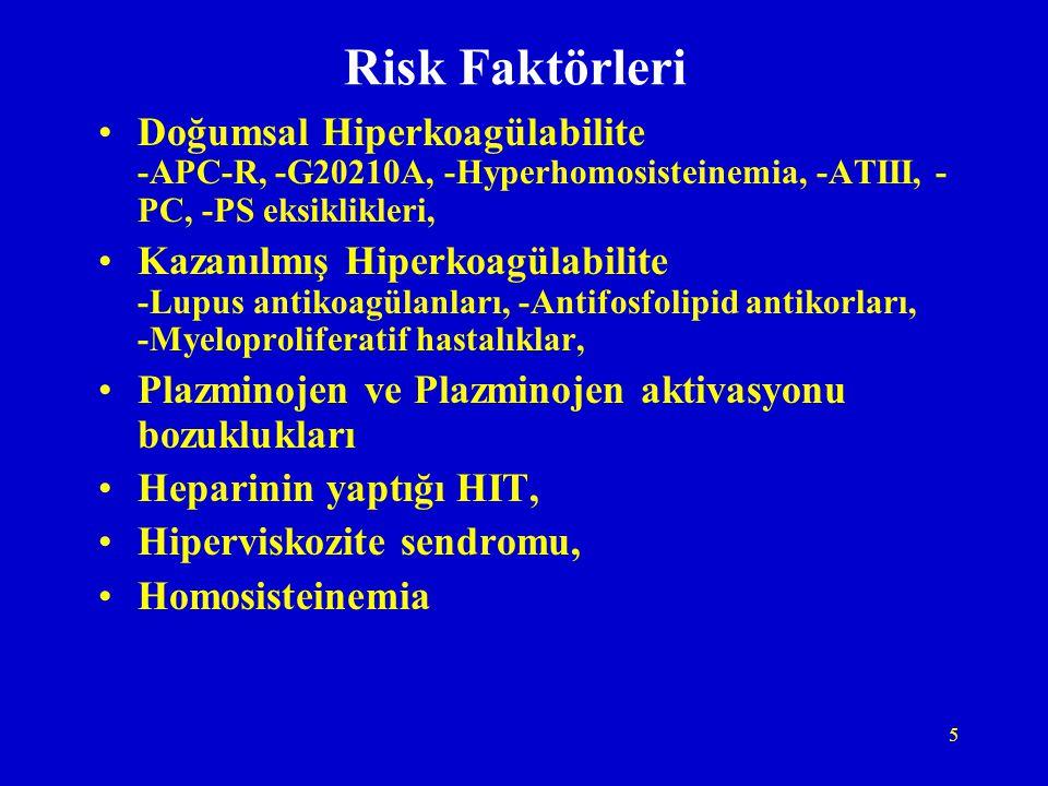 5 Risk Faktörleri Doğumsal Hiperkoagülabilite -APC-R, -G20210A, -Hyperhomosisteinemia, -ATIII, - PC, -PS eksiklikleri, Kazanılmış Hiperkoagülabilite -