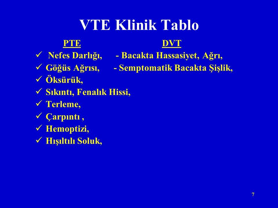 7 VTE Klinik Tablo PTE DVT Nefes Darlığı, - Bacakta Hassasiyet, Ağrı, Göğüs Ağrısı, - Semptomatik Bacakta Şişlik, Öksürük, Sıkıntı, Fenalık Hissi, Ter