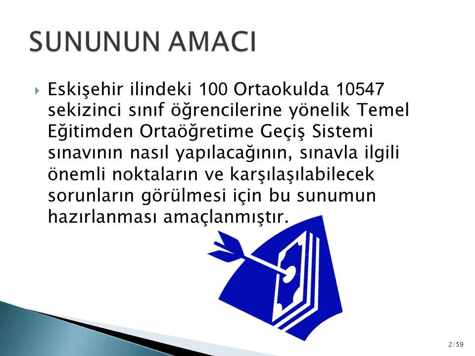  Eskişehir ilindeki 100 Ortaokulda 10547 sekizinci sınıf öğrencilerine yönelik Temel Eğitimden Ortaöğretime Geçiş Sistemi sınavının nasıl yapılacağın