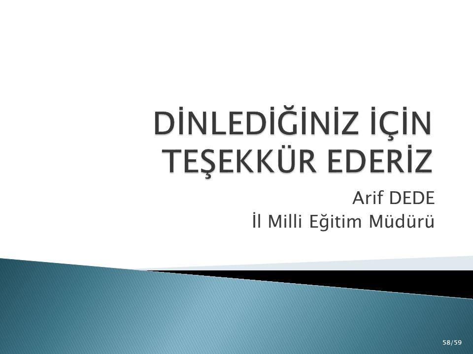 Arif DEDE İl Milli Eğitim Müdürü 58/59