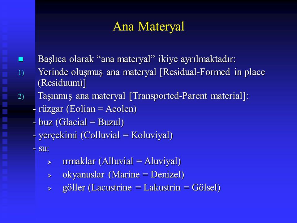 """Ana Materyal n Başlıca olarak """"ana materyal"""" ikiye ayrılmaktadır: 1) Yerinde oluşmuş ana materyal [Residual-Formed in place (Residuum)] 2) Taşınmış an"""