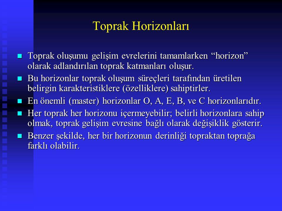 """Toprak Horizonları n Toprak oluşumu gelişim evrelerini tamamlarken """"horizon"""" olarak adlandırılan toprak katmanları oluşur. n Bu horizonlar toprak oluş"""