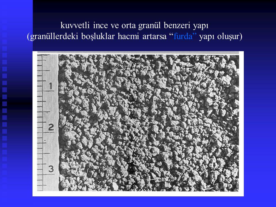 """kuvvetli ince ve orta granül benzeri yapı (granüllerdeki boşluklar hacmi artarsa """"furda"""" yapı oluşur)"""