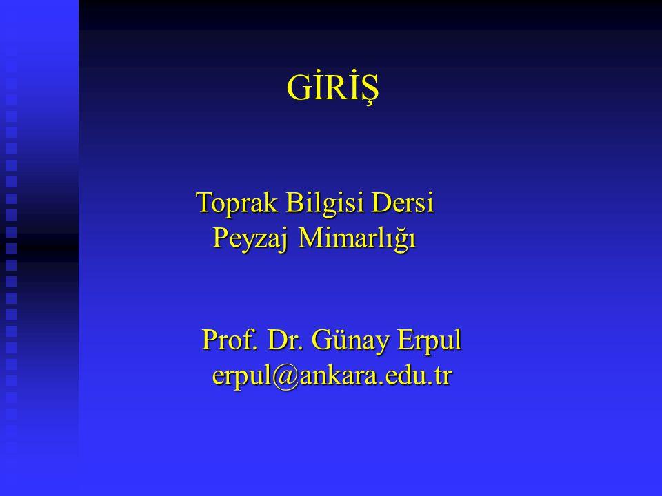 GİRİŞ Toprak Bilgisi Dersi Peyzaj Mimarlığı Prof. Dr. Günay Erpul erpul@ankara.edu.tr