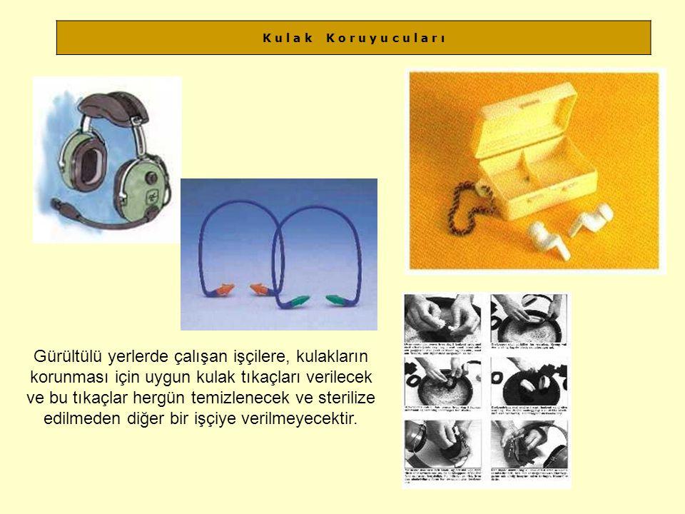 K u l a k K o r u y u c u l a r ı Gürültülü yerlerde çalışan işçilere, kulakların korunması için uygun kulak tıkaçları verilecek ve bu tıkaçlar hergün temizlenecek ve sterilize edilmeden diğer bir işçiye verilmeyecektir.