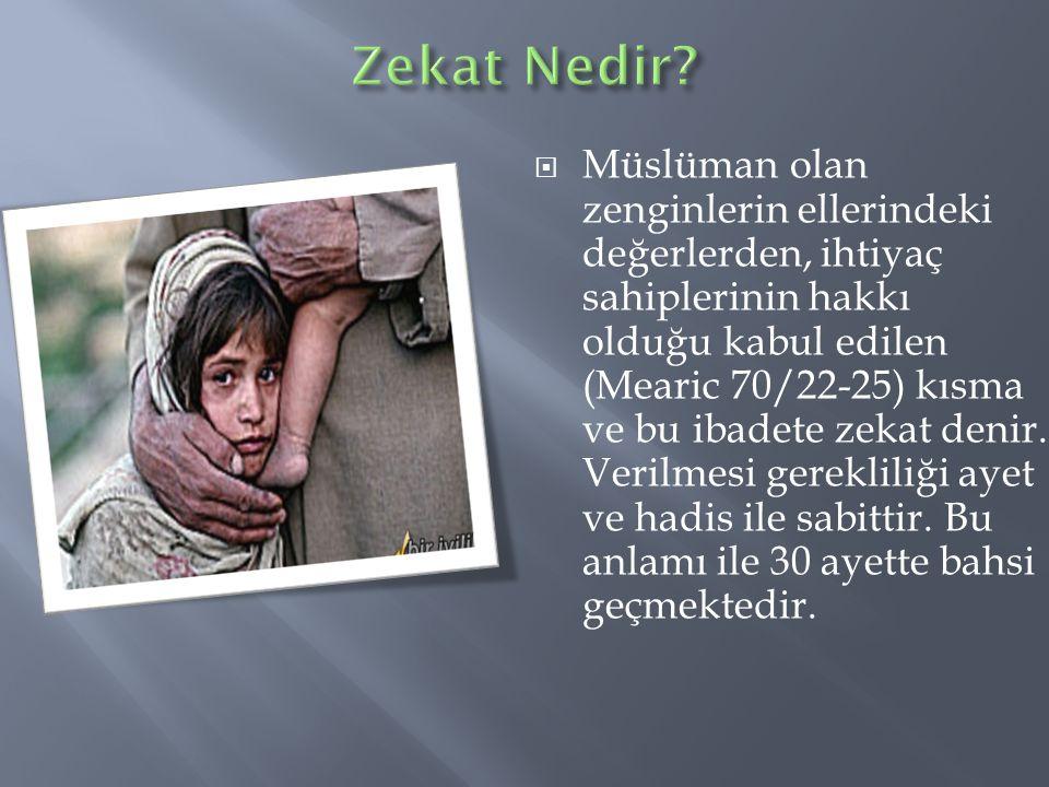  Müslüman olan zenginlerin ellerindeki değerlerden, ihtiyaç sahiplerinin hakkı olduğu kabul edilen (Mearic 70/22-25) kısma ve bu ibadete zekat denir.