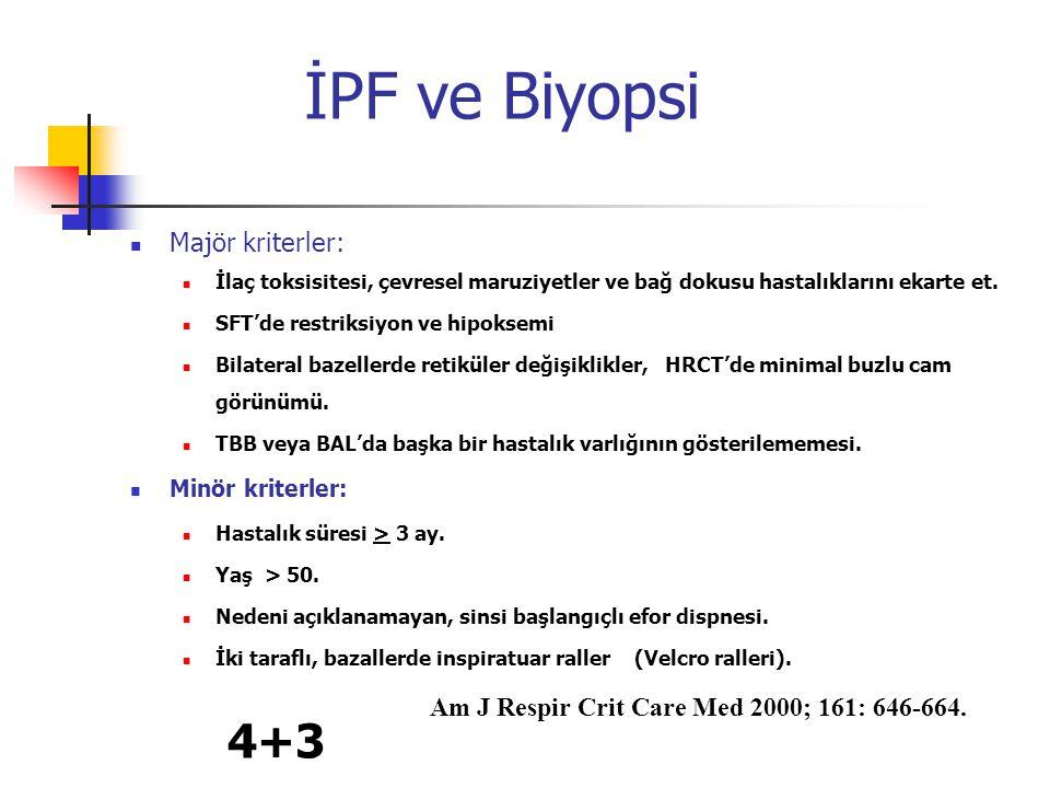 İPF ve Biyopsi Majör kriterler: İlaç toksisitesi, çevresel maruziyetler ve bağ dokusu hastalıklarını ekarte et. SFT'de restriksiyon ve hipoksemi Bilat