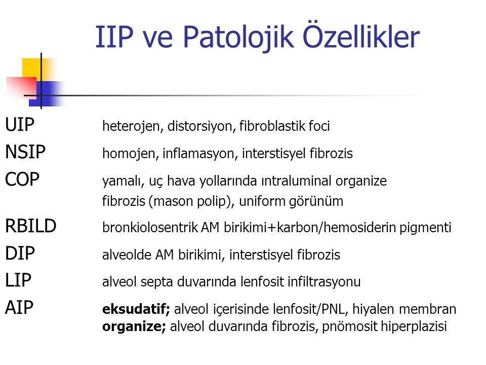 IIP ve Patolojik Özellikler UIP heterojen, distorsiyon, fibroblastik foci NSIP homojen, inflamasyon, interstisyel fibrozis COP yamalı, uç hava yolları