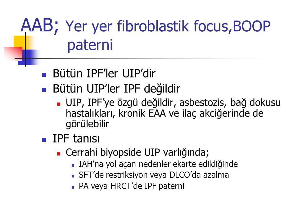 AAB; Yer yer fibroblastik focus,BOOP paterni Bütün IPF'ler UIP'dir Bütün UIP'ler IPF değildir UIP, IPF'ye özgü değildir, asbestozis, bağ dokusu hastal