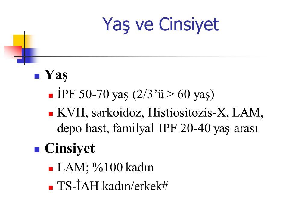 Yaş ve Cinsiyet Yaş İPF 50-70 yaş (2/3'ü > 60 yaş) KVH, sarkoidoz, Histiositozis-X, LAM, depo hast, familyal IPF 20-40 yaş arası Cinsiyet LAM; %100 ka
