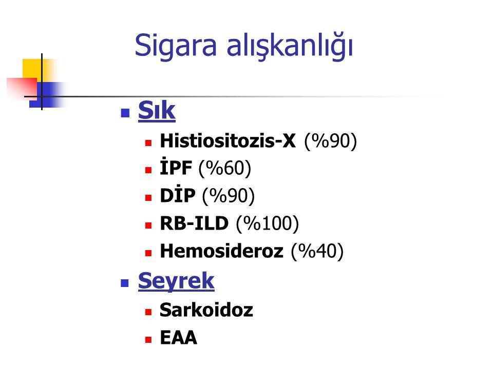 Sigara alışkanlığı Sık Histiositozis-X (%90) İPF (%60) DİP (%90) RB-ILD (%100) Hemosideroz (%40) Seyrek Sarkoidoz EAA