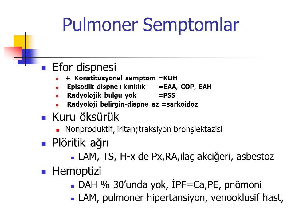 Pulmoner Semptomlar Efor dispnesi + Konstitüsyonel semptom =KDH Episodik dispne+kırıklık =EAA, COP, EAH Radyolojik bulgu yok =PSS Radyoloji belirgin-d