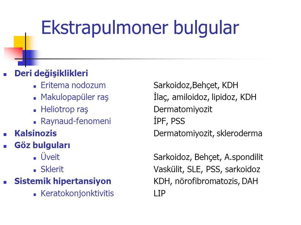Ekstrapulmoner bulgular Deri değişiklikleri Eritema nodozumSarkoidoz,Behçet, KDH Makulopapüler raşİlaç, amiloidoz, lipidoz, KDH Heliotrop raşDermatomi