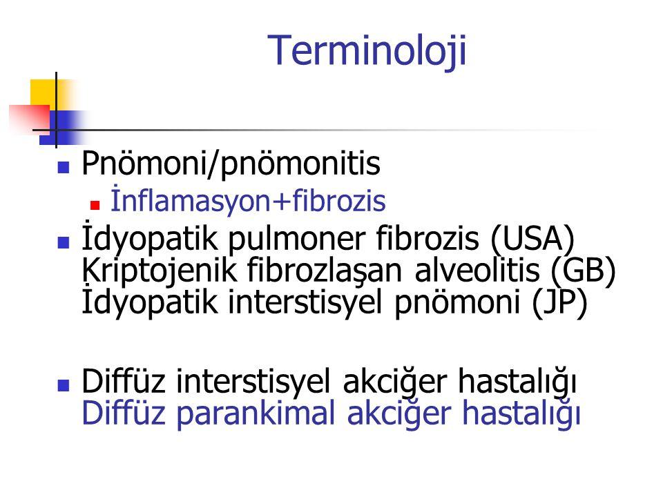 Terminoloji Pnömoni/pnömonitis İnflamasyon+fibrozis İdyopatik pulmoner fibrozis (USA) Kriptojenik fibrozlaşan alveolitis (GB) İdyopatik interstisyel p