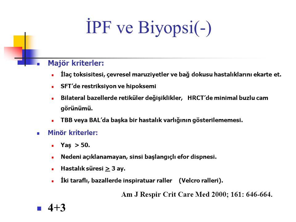 İPF ve Biyopsi(-) Majör kriterler: İlaç toksisitesi, çevresel maruziyetler ve bağ dokusu hastalıklarını ekarte et. SFT'de restriksiyon ve hipoksemi Bi