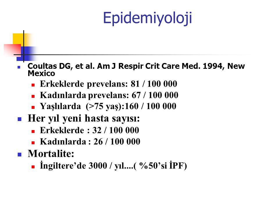 Epidemiyoloji Coultas DG, et al. Am J Respir Crit Care Med. 1994, New Mexico Erkeklerde prevelans: 81 / 100 000 Kadınlarda prevelans: 67 / 100 000 Yaş