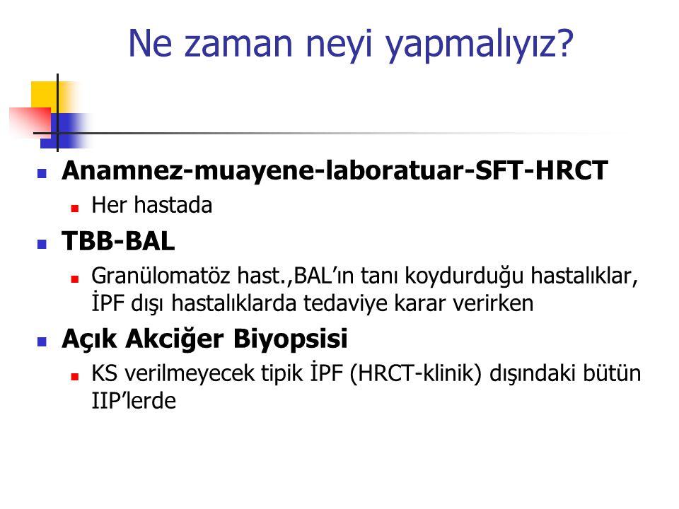 Ne zaman neyi yapmalıyız? Anamnez-muayene-laboratuar-SFT-HRCT Her hastada TBB-BAL Granülomatöz hast.,BAL'ın tanı koydurduğu hastalıklar, İPF dışı hast
