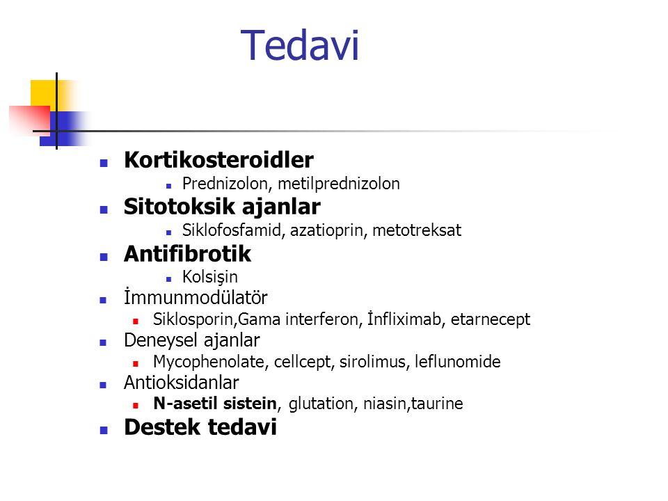 Tedavi Kortikosteroidler Prednizolon, metilprednizolon Sitotoksik ajanlar Siklofosfamid, azatioprin, metotreksat Antifibrotik Kolsişin İmmunmodülatör