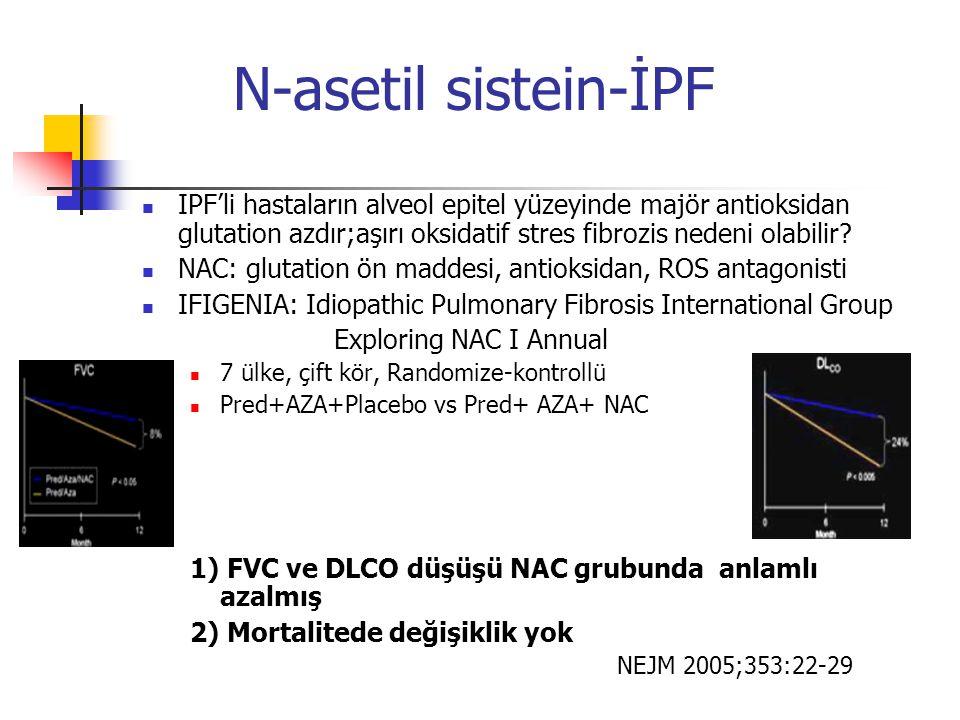 N-asetil sistein-İPF IPF'li hastaların alveol epitel yüzeyinde majör antioksidan glutation azdır;aşırı oksidatif stres fibrozis nedeni olabilir? NAC: