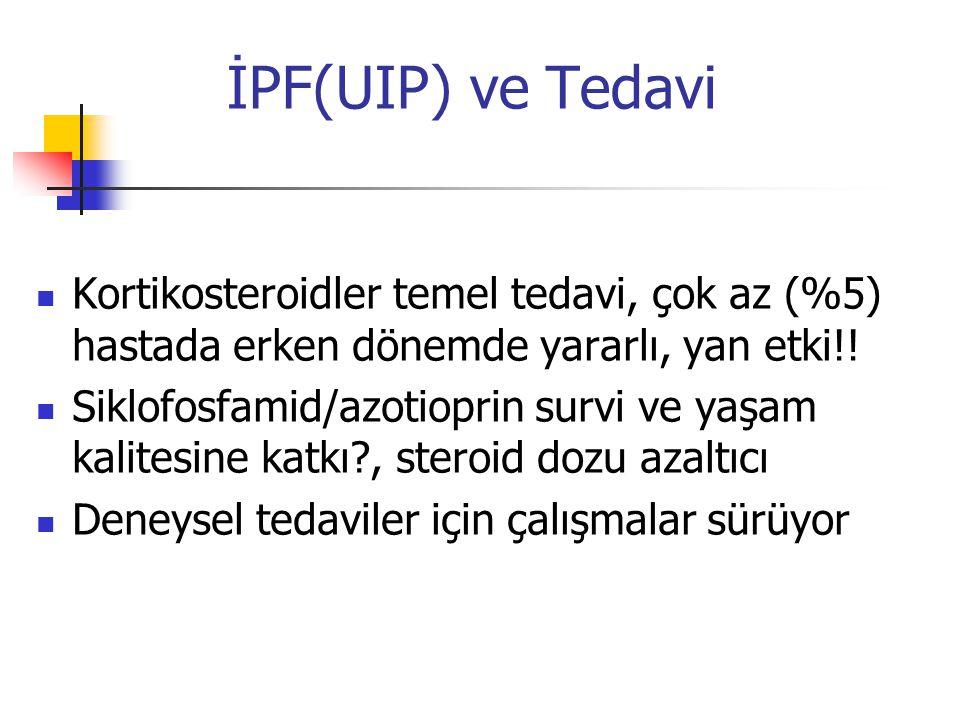 İPF(UIP) ve Tedavi Kortikosteroidler temel tedavi, çok az (%5) hastada erken dönemde yararlı, yan etki!! Siklofosfamid/azotioprin survi ve yaşam kalit