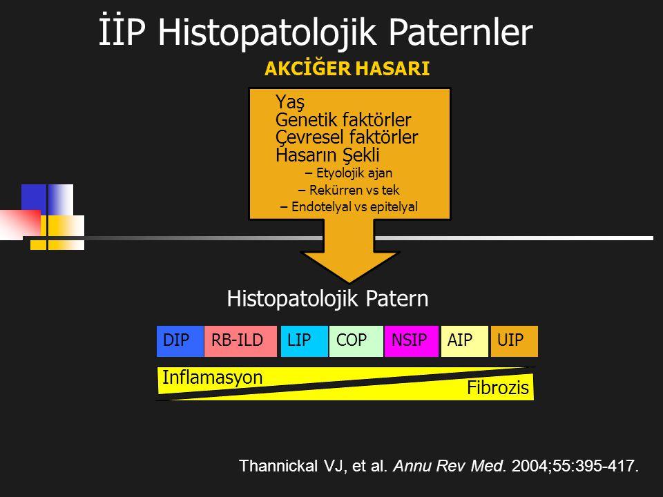 İİP Histopatolojik Paternler Thannickal VJ, et al. Annu Rev Med. 2004;55:395-417. Yaş Genetik faktörler Çevresel faktörler Hasarın Şekli – Etyolojik a