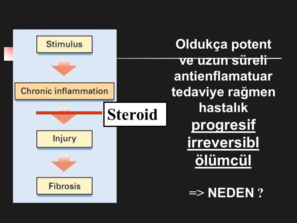 Steroid Oldukça potent ve uzun süreli antienflamatuar tedaviye rağmen hastalık progresif irreversibl ölümcül => NEDEN ?
