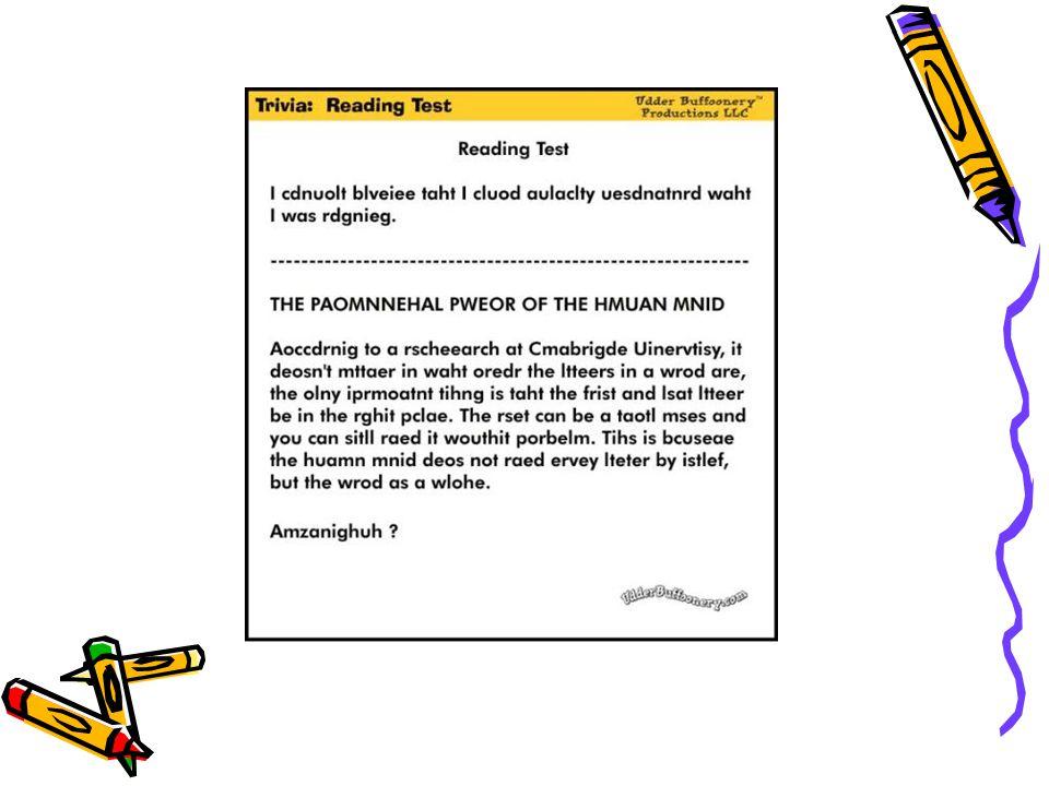 Okuma Stratejisi Sözcüklerin başlarına ve sonlarına orta kısımlarından daha çok dikkat ederiz. Bu strateji, alfabetik yazı stillerinde diğer stillere