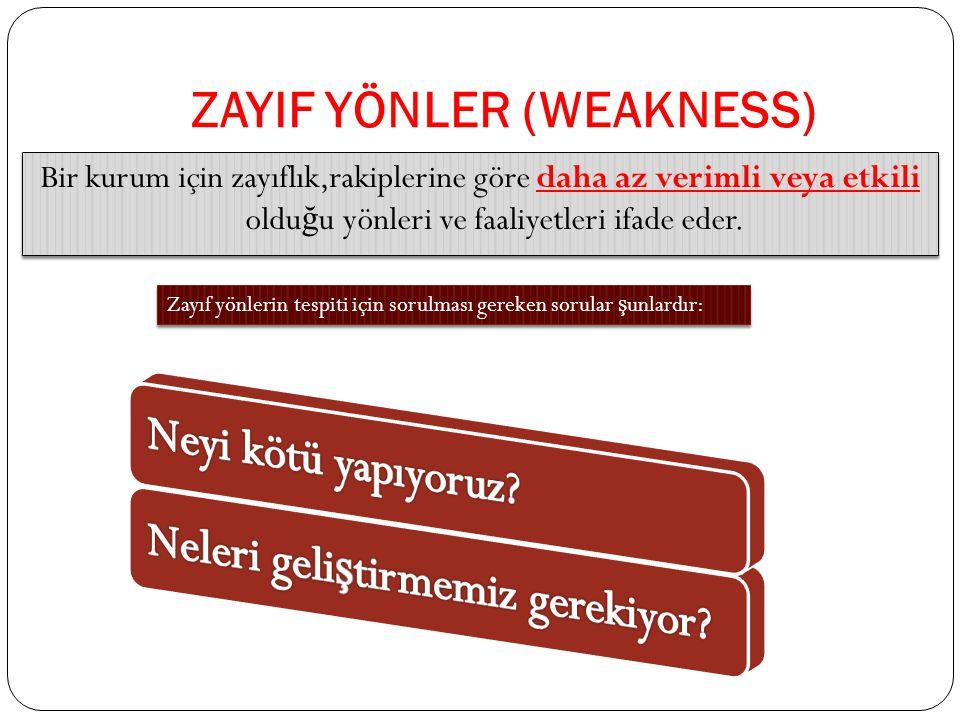 ZAYIF YÖNLER (WEAKNESS) Bir kurum için zayıflık,rakiplerine göre daha az verimli veya etkili oldu ğ u yönleri ve faaliyetleri ifade eder.