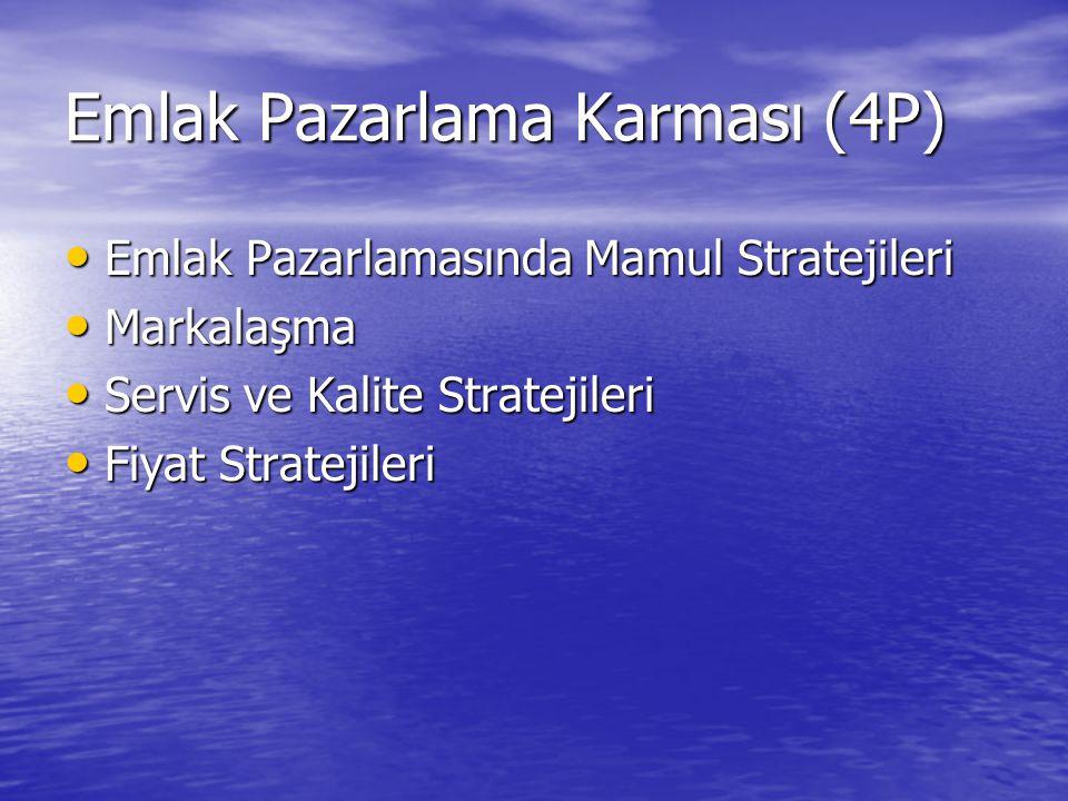 Emlak Pazarlama Karması (4P) Emlak Pazarlamasında Mamul Stratejileri Emlak Pazarlamasında Mamul Stratejileri Markalaşma Markalaşma Servis ve Kalite St