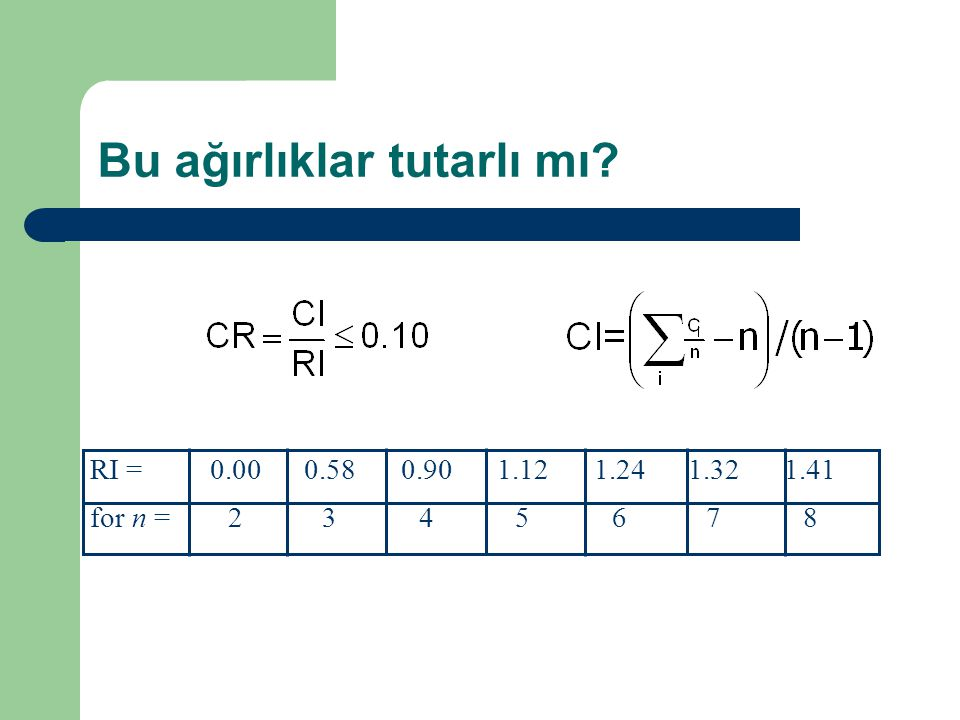 Bu ağırlıklar tutarlı mı? RI =0.000.580.901.121.241.321.41 for n =2345678