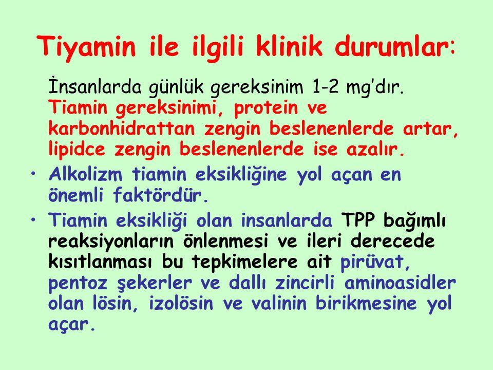 Tiyamin ile ilgili klinik durumlar: İnsanlarda günlük gereksinim 1-2 mg'dır. Tiamin gereksinimi, protein ve karbonhidrattan zengin beslenenlerde artar