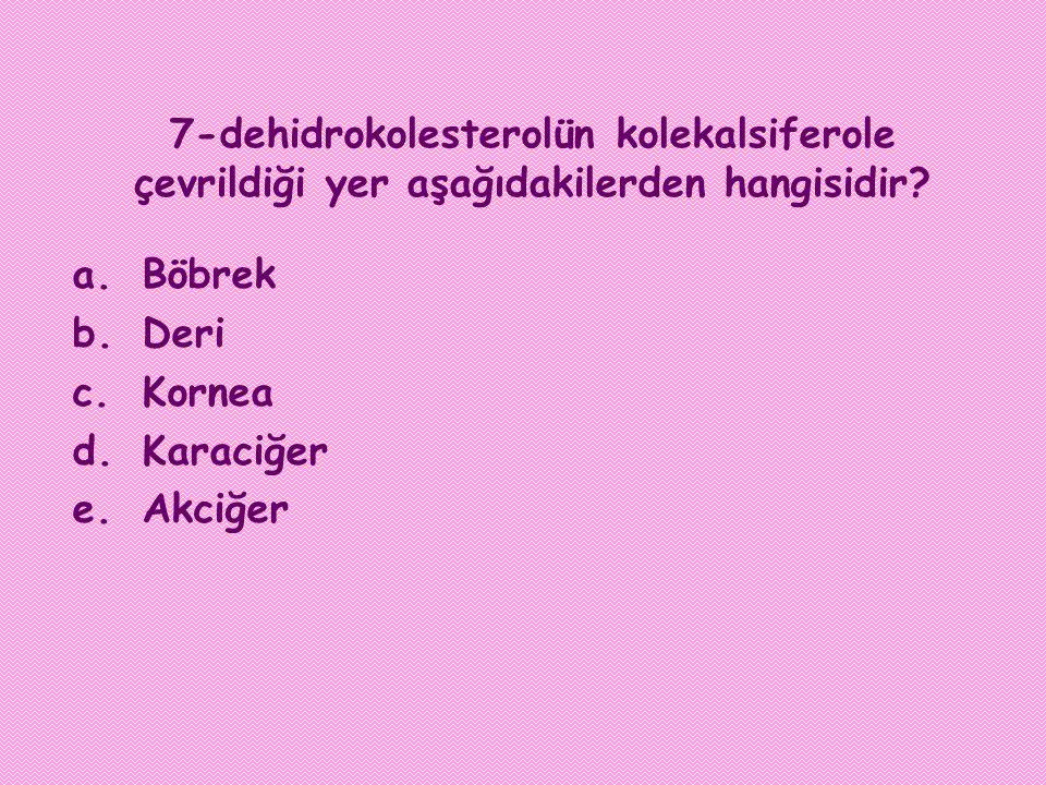 7-dehidrokolesterolün kolekalsiferole çevrildiği yer aşağıdakilerden hangisidir? a.Böbrek b.Deri c.Kornea d.Karaciğer e.Akciğer