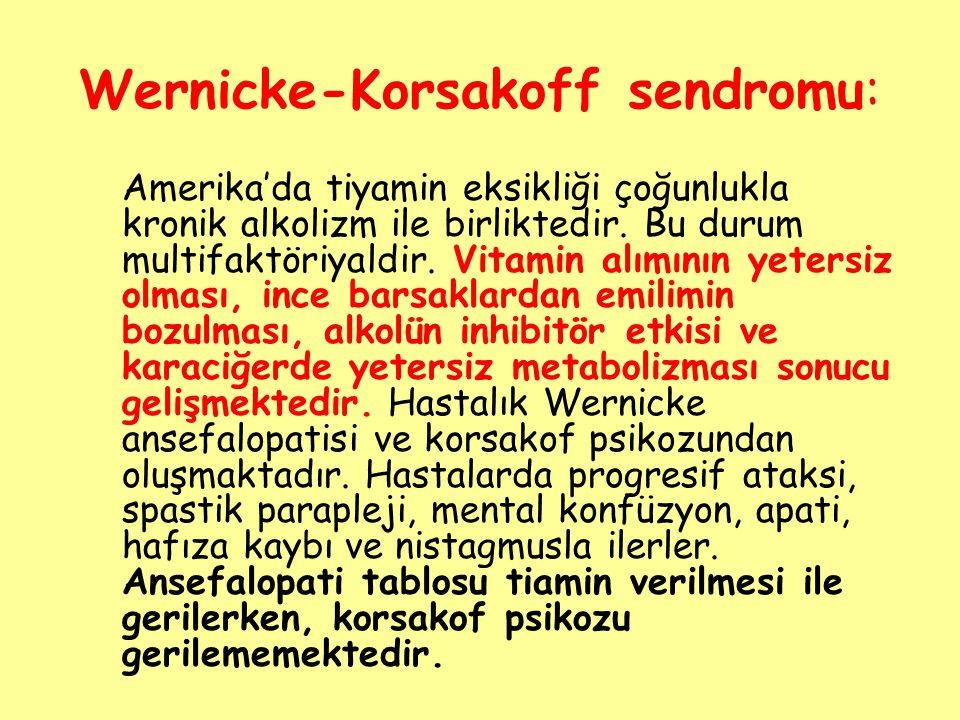 Wernicke-Korsakoff sendromu: Amerika'da tiyamin eksikliği çoğunlukla kronik alkolizm ile birliktedir. Bu durum multifaktöriyaldir. Vitamin alımının ye