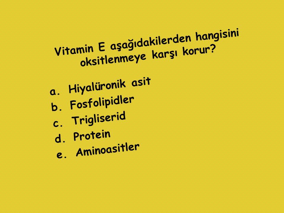 Vitamin E aşağıdakilerden hangisini oksitlenmeye karşı korur? a.Hiyalüronik asit b.Fosfolipidler c.Trigliserid d.Protein e.Aminoasitler