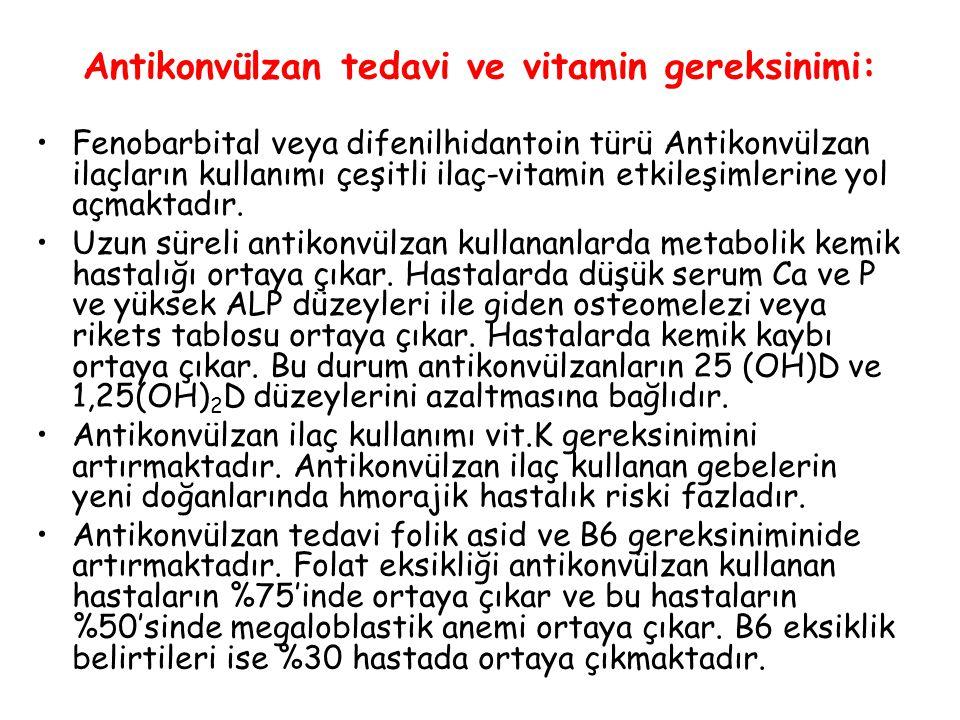 Antikonvülzan tedavi ve vitamin gereksinimi: Fenobarbital veya difenilhidantoin türü Antikonvülzan ilaçların kullanımı çeşitli ilaç-vitamin etkileşiml