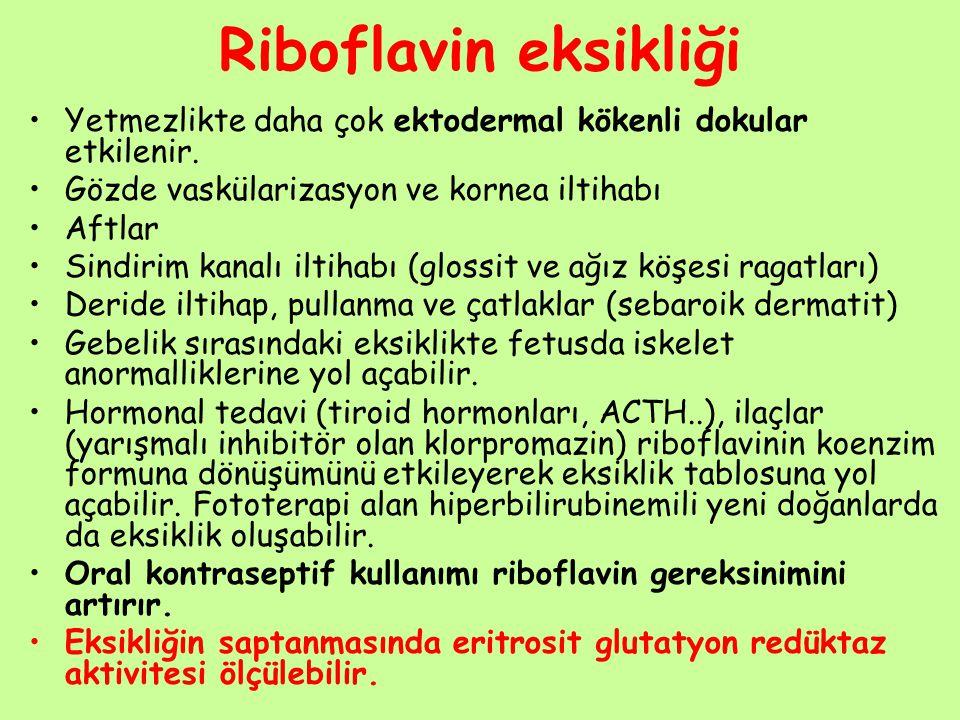 Riboflavin eksikliği Yetmezlikte daha çok ektodermal kökenli dokular etkilenir. Gözde vaskülarizasyon ve kornea iltihabı Aftlar Sindirim kanalı iltiha