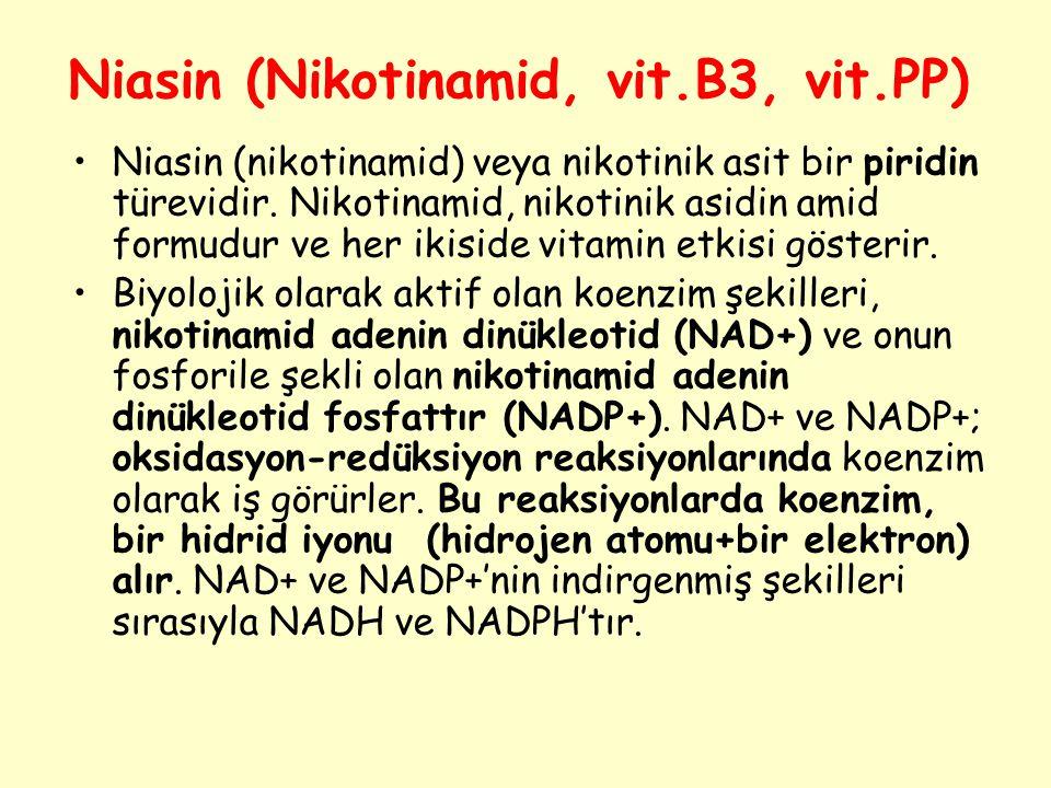 Niasin (Nikotinamid, vit.B3, vit.PP) Niasin (nikotinamid) veya nikotinik asit bir piridin türevidir. Nikotinamid, nikotinik asidin amid formudur ve he