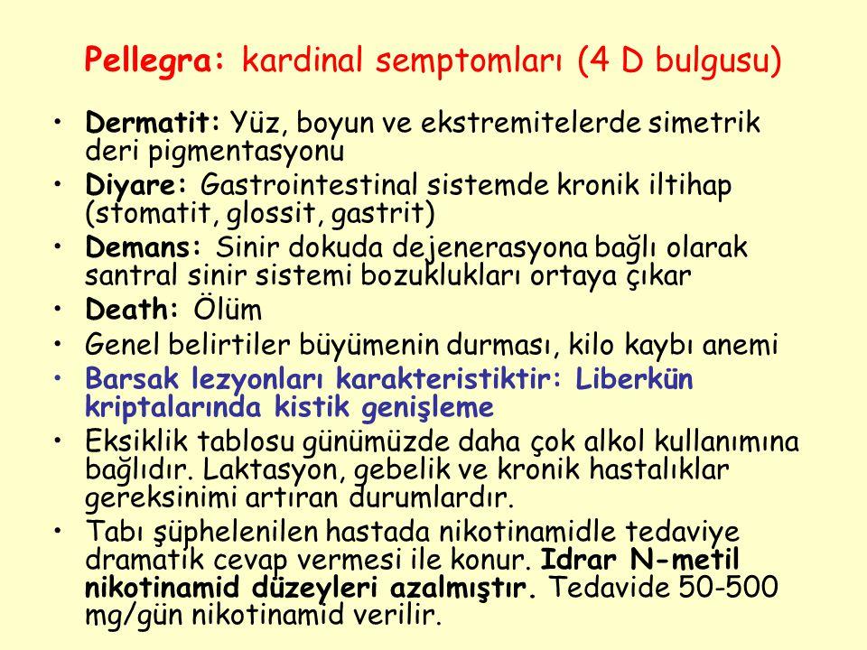 Pellegra: kardinal semptomları (4 D bulgusu) Dermatit: Yüz, boyun ve ekstremitelerde simetrik deri pigmentasyonu Diyare: Gastrointestinal sistemde kro