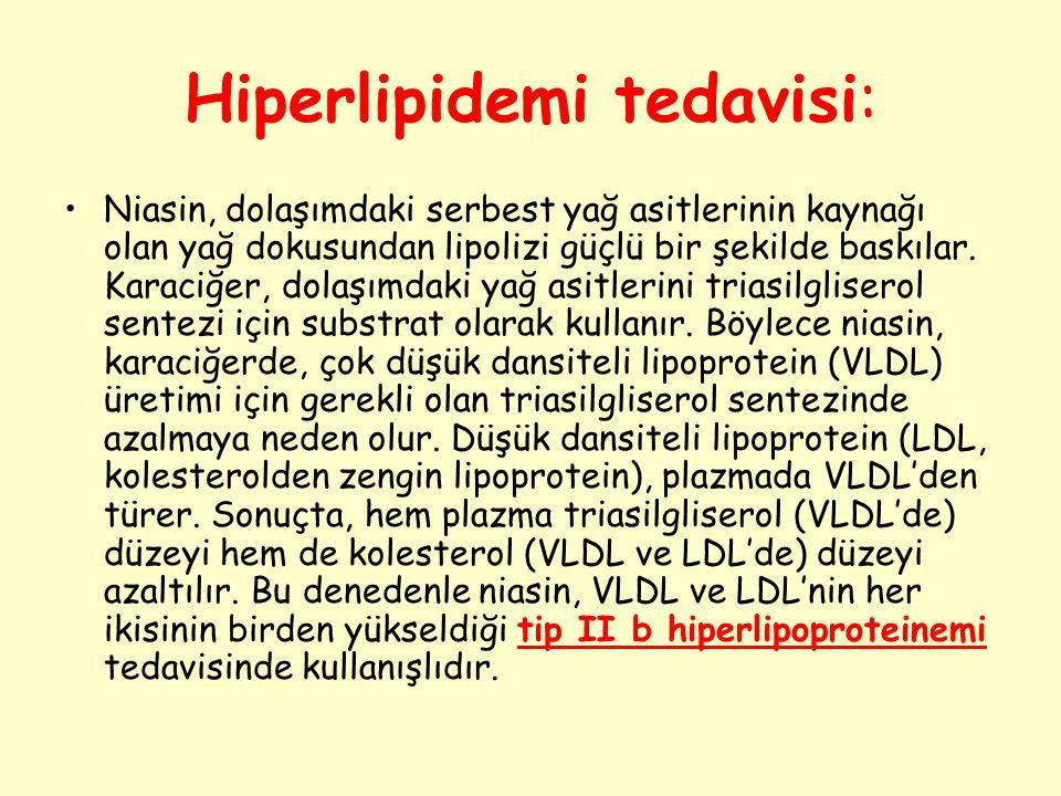 Hiperlipidemi tedavisi: Niasin, dolaşımdaki serbest yağ asitlerinin kaynağı olan yağ dokusundan lipolizi güçlü bir şekilde baskılar. Karaciğer, dolaşı