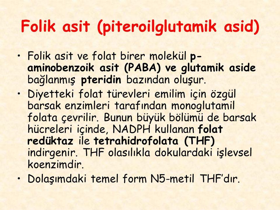 Folik asit (piteroilglutamik asid) Folik asit ve folat birer molekül p- aminobenzoik asit (PABA) ve glutamik aside bağlanmış pteridin bazından oluşur.