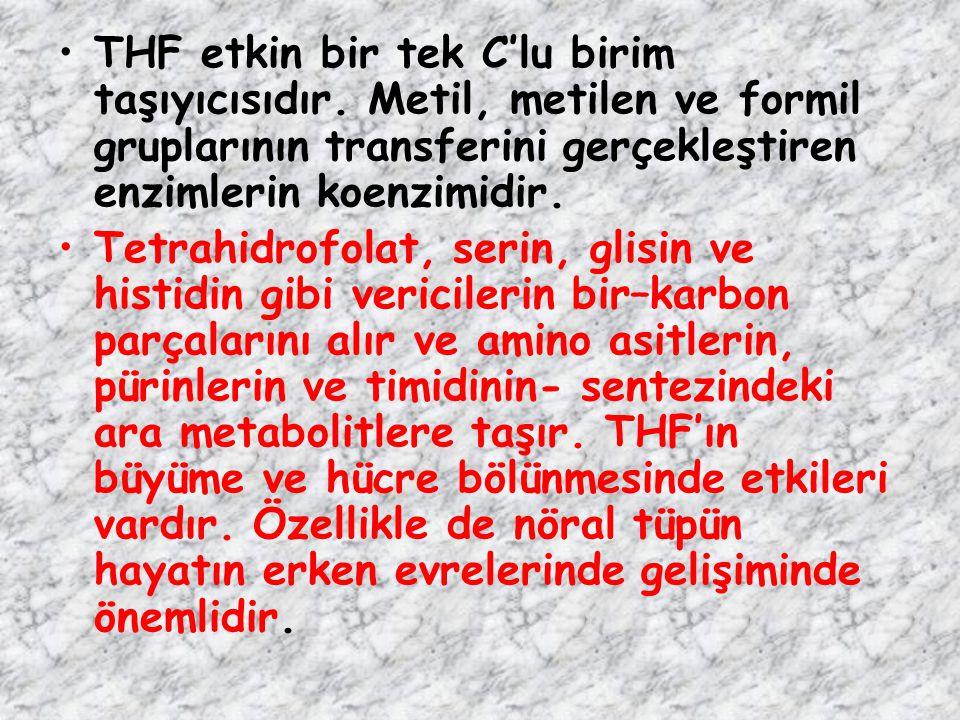 THF etkin bir tek C'lu birim taşıyıcısıdır. Metil, metilen ve formil gruplarının transferini gerçekleştiren enzimlerin koenzimidir. Tetrahidrofolat, s