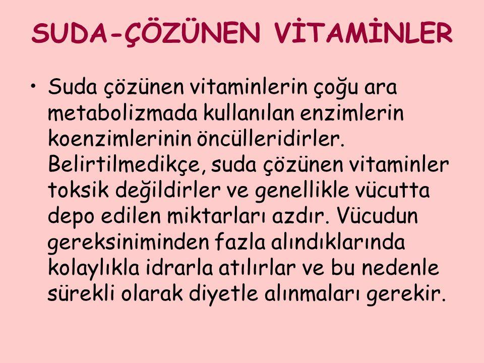SUDA-ÇÖZÜNEN VİTAMİNLER Suda çözünen vitaminlerin çoğu ara metabolizmada kullanılan enzimlerin koenzimlerinin öncülleridirler. Belirtilmedikçe, suda ç