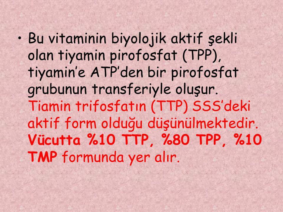 Bu vitaminin biyolojik aktif şekli olan tiyamin pirofosfat (TPP), tiyamin'e ATP'den bir pirofosfat grubunun transferiyle oluşur. Tiamin trifosfatın (T