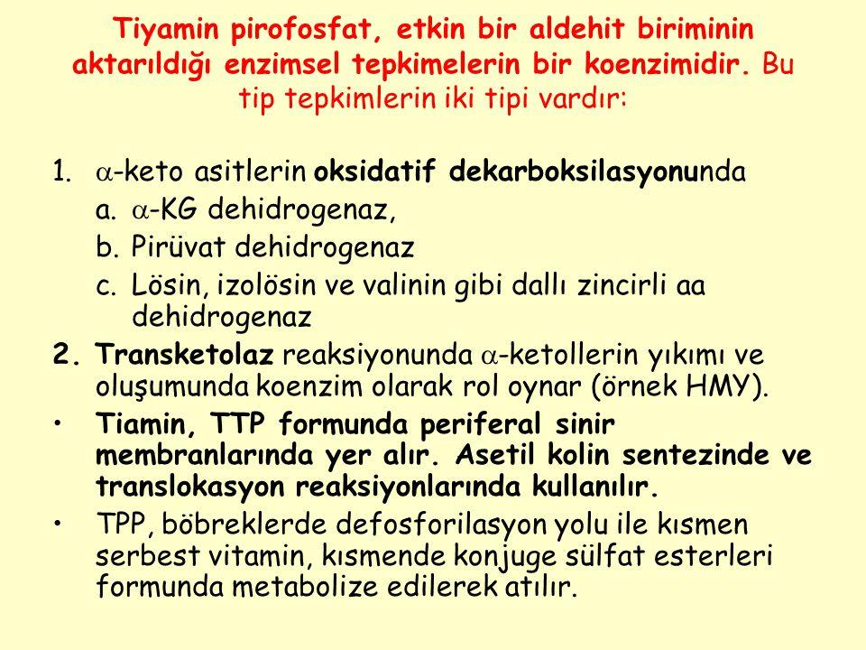 Tiyamin pirofosfat, etkin bir aldehit biriminin aktarıldığı enzimsel tepkimelerin bir koenzimidir. Bu tip tepkimlerin iki tipi vardır: 1.  -keto asit