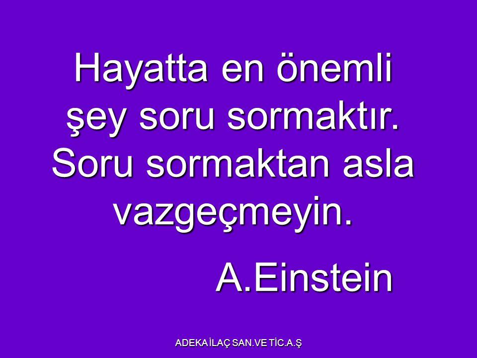 SORGULAMA Hayatta en önemli şey soru sormaktır. Soru sormaktan asla vazgeçmeyin. A.Einstein