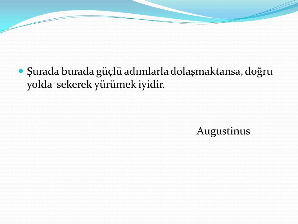 Şurada burada güçlü adımlarla dolaşmaktansa, doğru yolda sekerek yürümek iyidir. Augustinus