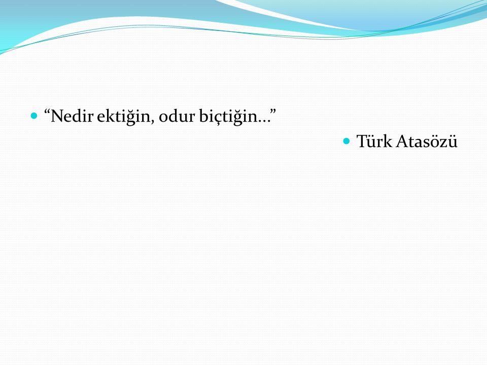 """""""Nedir ektiğin, odur biçtiğin..."""" Türk Atasözü"""