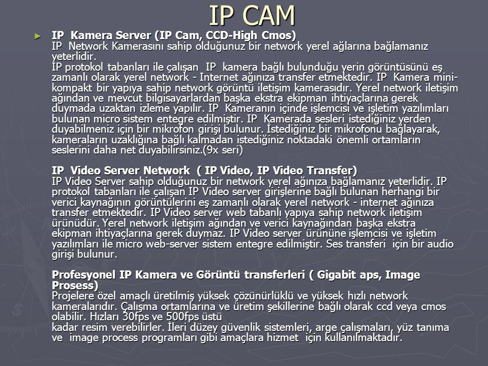 IP CAM ► IP Kamera Server (IP Cam, CCD-High Cmos) IP Network Kamerasını sahip olduğunuz bir network yerel ağlarına bağlamanız yeterlidir. IP protokol