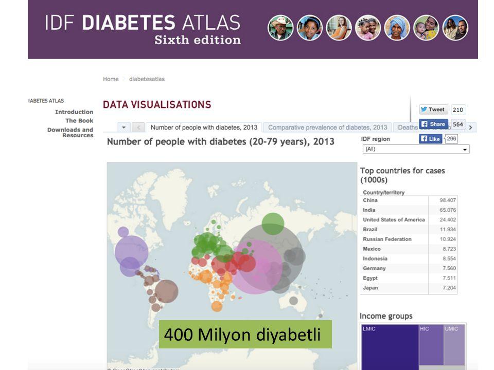 Ülkemizde Diyabet 18,000 Diyabetli Çocuk 1700/yıl yeni tanı alan çocuk ( Dünya'da 65.000 Çocuk) 18,000 Diyabetli Çocuk 1700/yıl yeni tanı alan çocuk ( Dünya'da 65.000 Çocuk) 7 milyondan fazla erişkin diyabet hastası, bir o kadar kişin de diyabet gelişimi açısından risk grubunda
