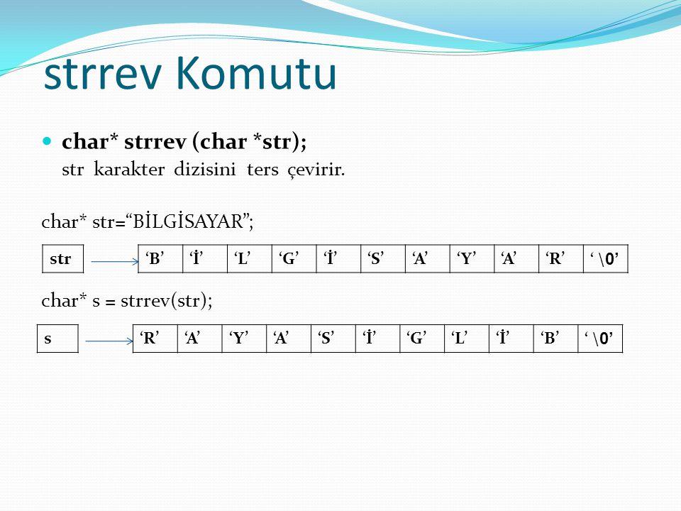 strrev Komutu char* strrev (char *str); str karakter dizisini ters çevirir.